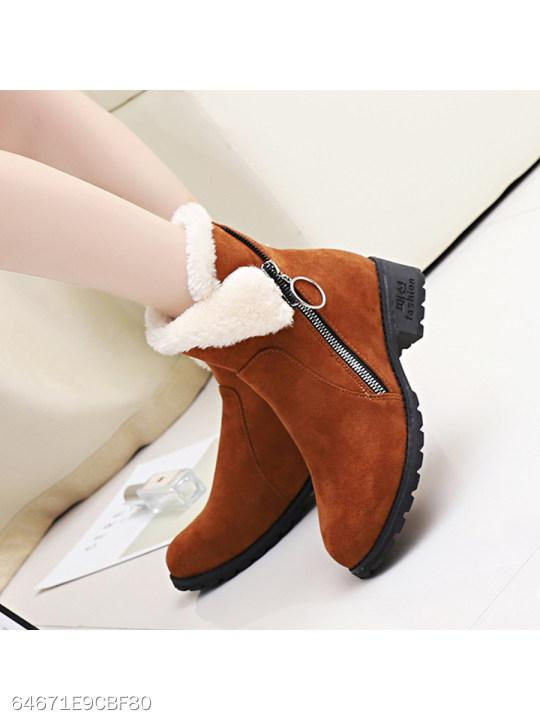 Plain Low Heeled Velvet Round Toe Date Outdoor Short High Heels Boots
