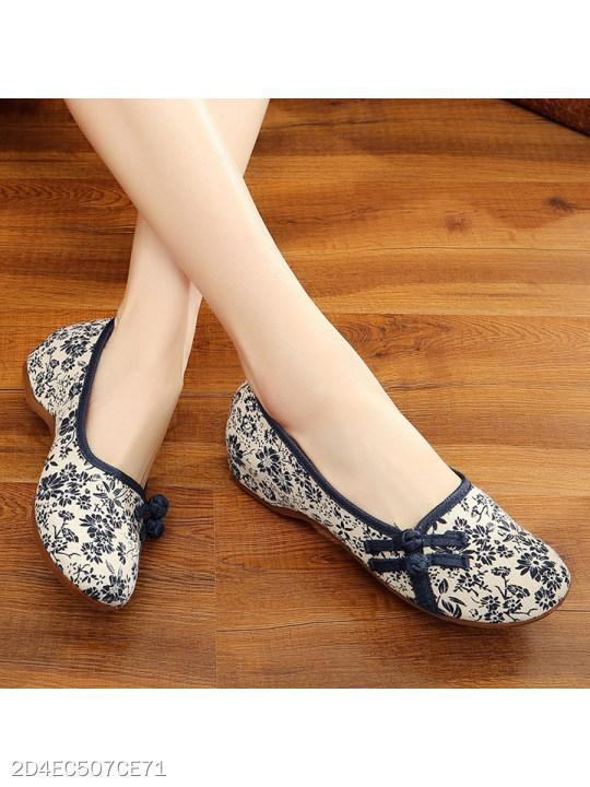 SOCOFY Floral Low Heeled Blend Round Toe Casual Flat & Loafers