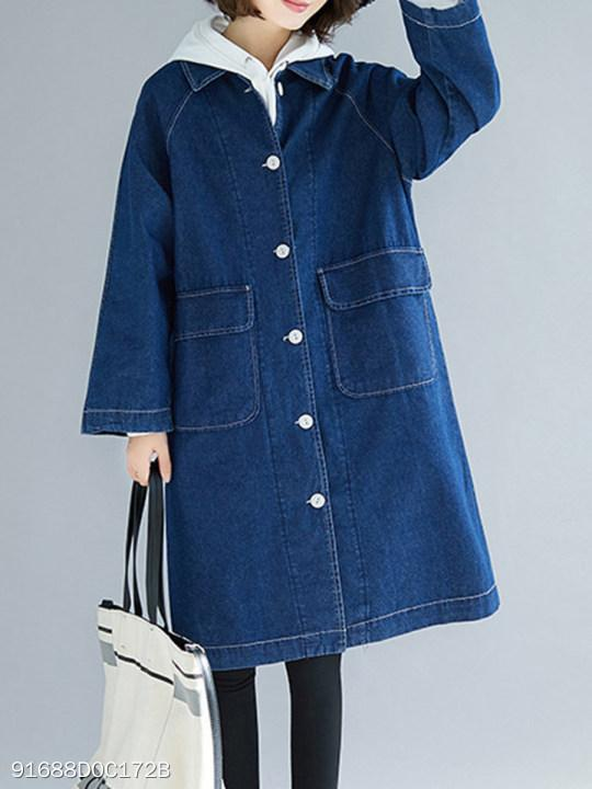 Fold Over Collar Single Breasted Plain Trench Coat