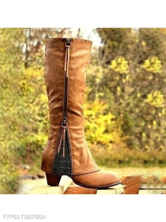 Plain High Heeled Round Toe Date Outdoor Knee High High Heels Boots