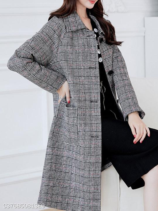 Fold Over Collar Single Breasted Plaid Coat