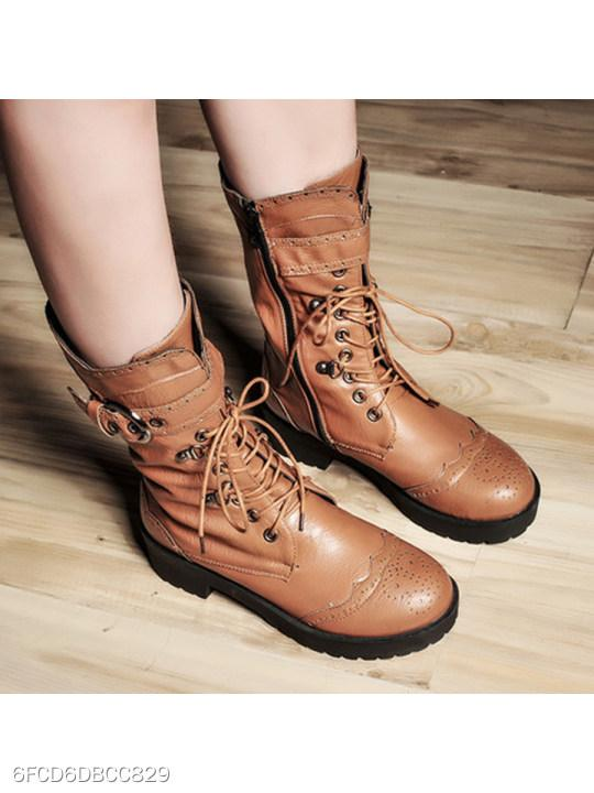 Plain Mid Heeled Round Toe Date Outdoor Mid Calf Flat Boots