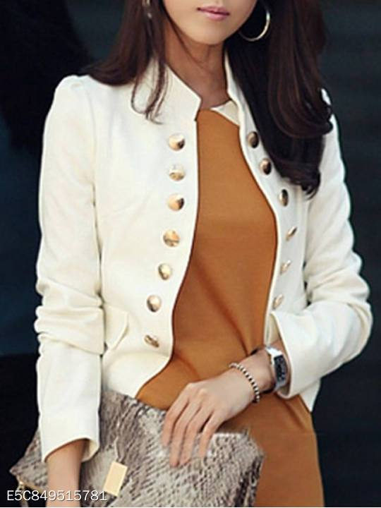 Ladylike Double Breasted Band Collar Blended Plain Blazer