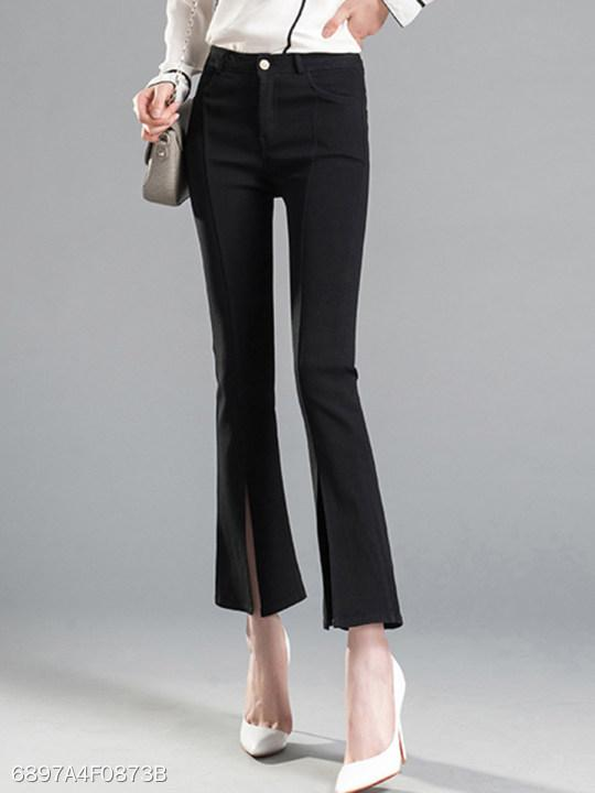 Plain Flared Slit Casual Pants