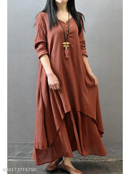 V Neck Asymmetric Hem Decorative Buttons Plain Maxi Dresses