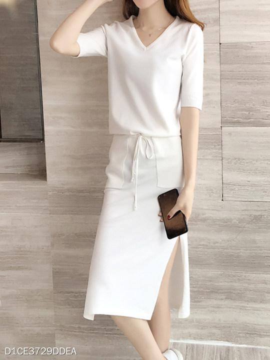 V Neck Drawstring Patch Pocket Slit Plain Shift Dress