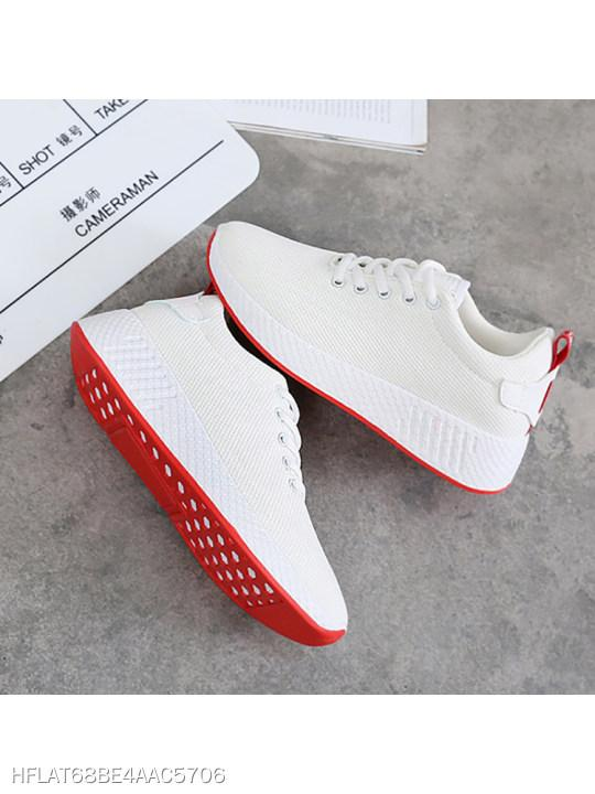 Plain Flat Criss Cross Round Toe Casual Sneakers