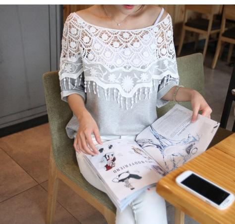 Lace Cutout Crochet Cape Batwing T-shirt