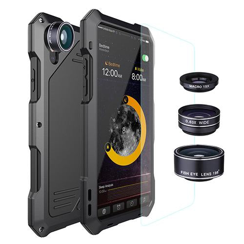 3-Layers Hybrid Shockproof Phone Cases For iPhone X 8 7 6S 6/Plus + 15X Macro Lens + Glass Film - bevsu