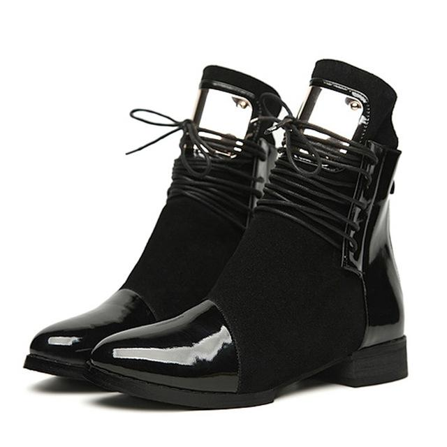 Ankle Boots - Genuine Leather Flat Martin Ankle Boots - Bevsu