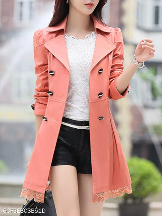 Fold Over Collar Bowknot Decorative Lace Belt Plain Cuffed Sleeve Trench Coat