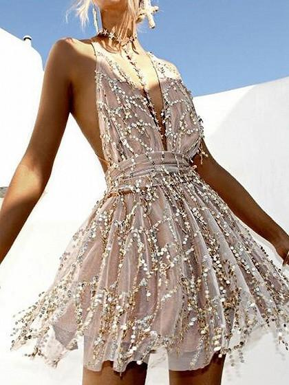 Halter Plunge Neck Backless Sequins Romper Playsuit