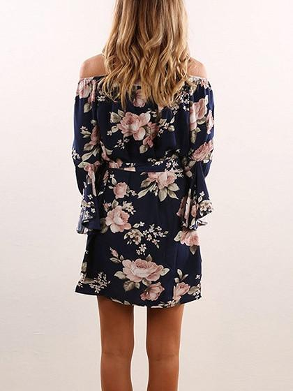 Polychrome Floral Off Shoulder Flared Sleeve Tie Waist Mini Dress