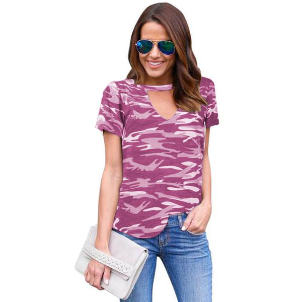 Print Camouflage Cut Out V-neck Loose T-shirt