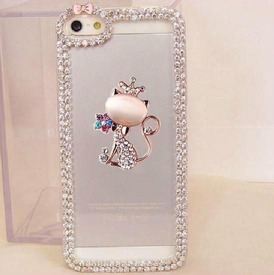 Bling Rhinestone Crown Cat Bow Chain Phone Cover - Bevsu