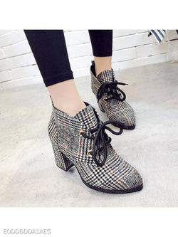 Chunky High Heeled Cotton Criss Cross Point Toe Date Office High Heels Boots