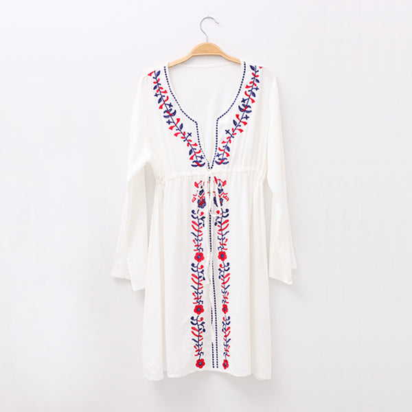 Embroidered Swimsuit Cover Up Dress
