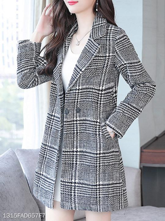 Notch Lapel Houndstooth Coat