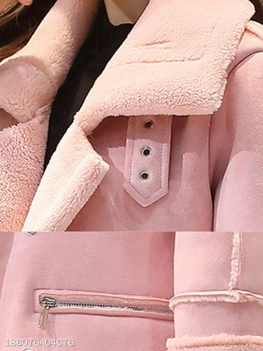 Fold Over Collar Double Breasted Patchwork Decorative Buttons Plain Coat