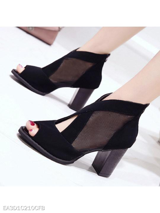Plain Chunky High Heeled Mesh Velvet Peep Toe Date Pumps