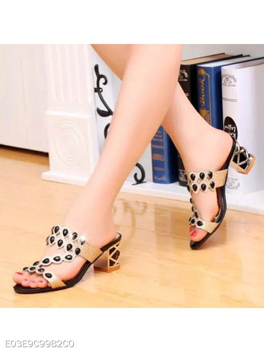 Hollow Out Chunky High Heeled Peep Toe Date Event Pumps