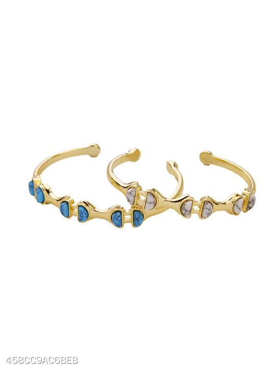 Gold Plated Turquoise Adjustable Bracelet