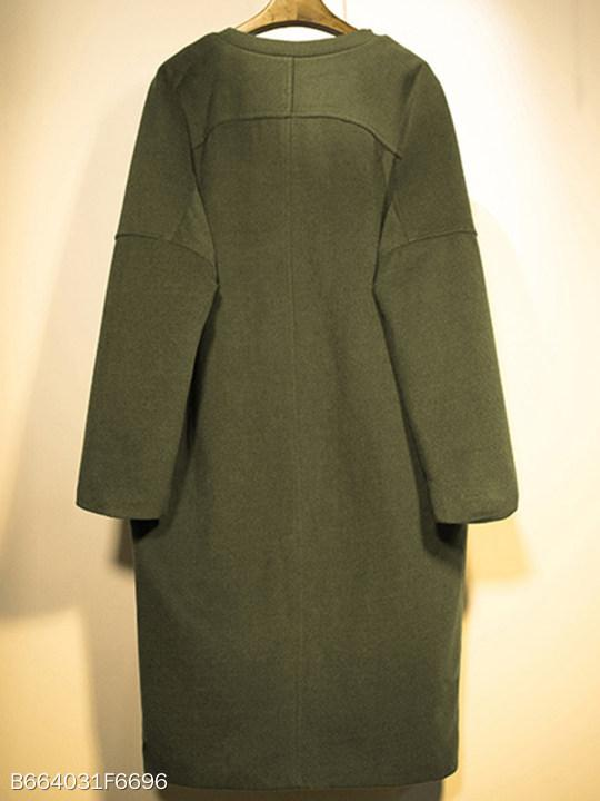 Collarless Flap Pocket Plain Coat