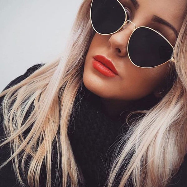 2019 New Metal Cat Eye Sunglasses Women Candy Color Sunglasses