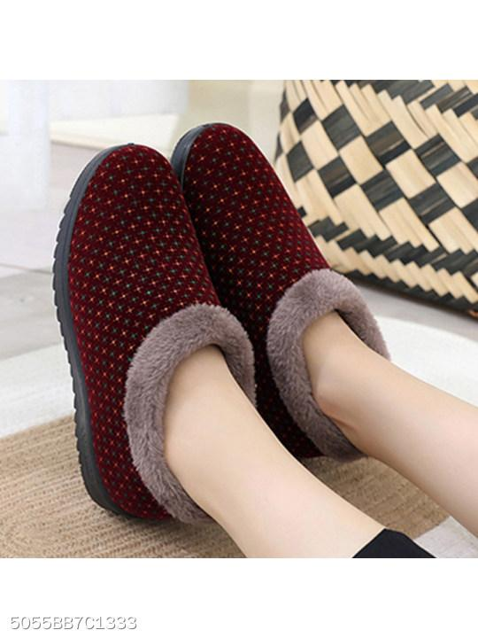 Plain Flat Cotton Round Toe Casual Ankle Boots