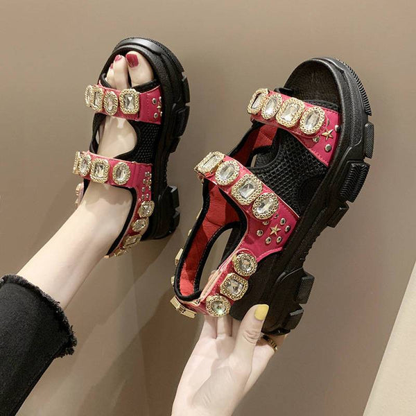 Summer Rhinestone Women's Sandals Non-slip Hiking Beach Shoes