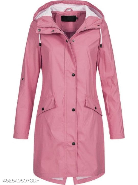 Hooded Zipper Plain Trench Coat