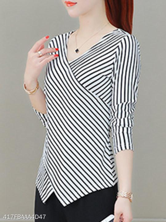 V Neck Stripes Long Sleeve T-Shirts