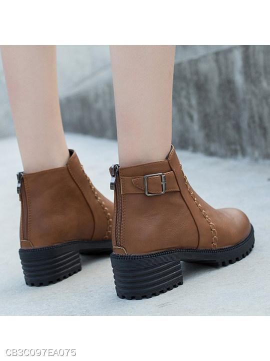 Plain Chunky Mid Heeled Criss Cross Round Toe Casual Date High Heels Boots