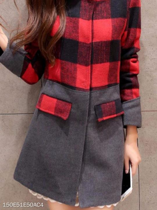 Collarless Single Breasted Plaid Coat