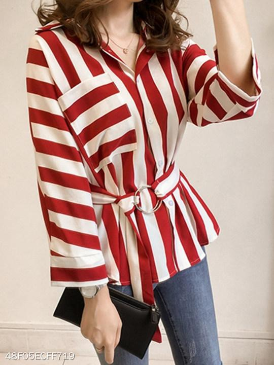 V Neck Patchwork Patchwork Stripes Blouses