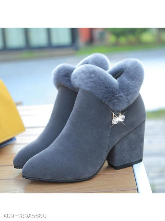 Plain Chunky High Heeled Velvet Point Toe Date Outdoor Short High Heels Boots