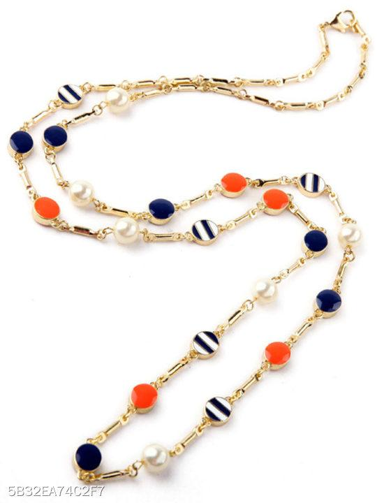 Color Block Striped Casual Long Necklace