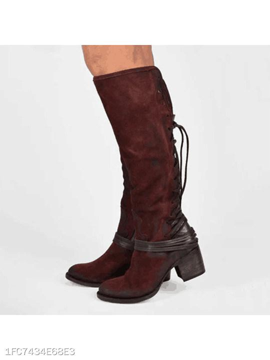 Chunky High Heeled Round Toe Date Outdoor Knee High High Heels Boots