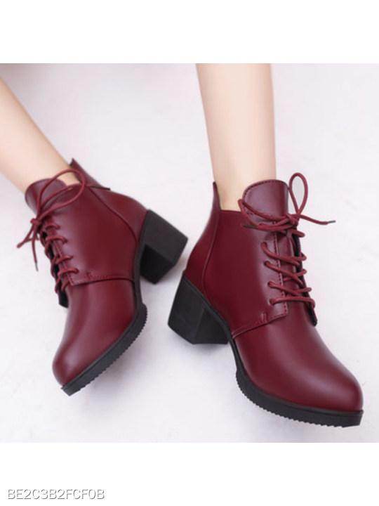 Plain Chunky High Heeled Criss Cross Round Toe Casual Date High Heels Boots