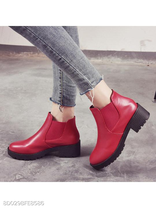 Plain Chunky Mid Heeled Round Toe Date Outdoor Short Flat Boots