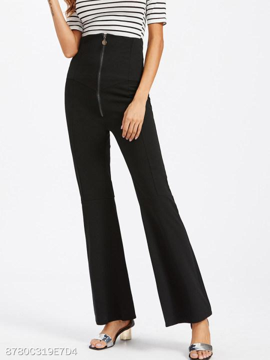 Zips Plain Flared High-Rise Casual Pants