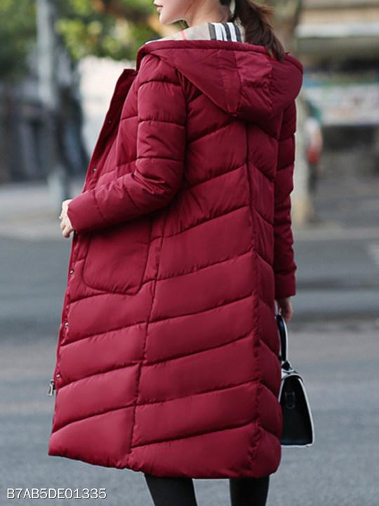 Hooded Patch Pocket Single Breasted Quilted Plain Coats