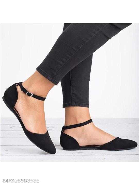 Plain Flat Velvet Ankle Strap Point Toe Date Comfort Flats