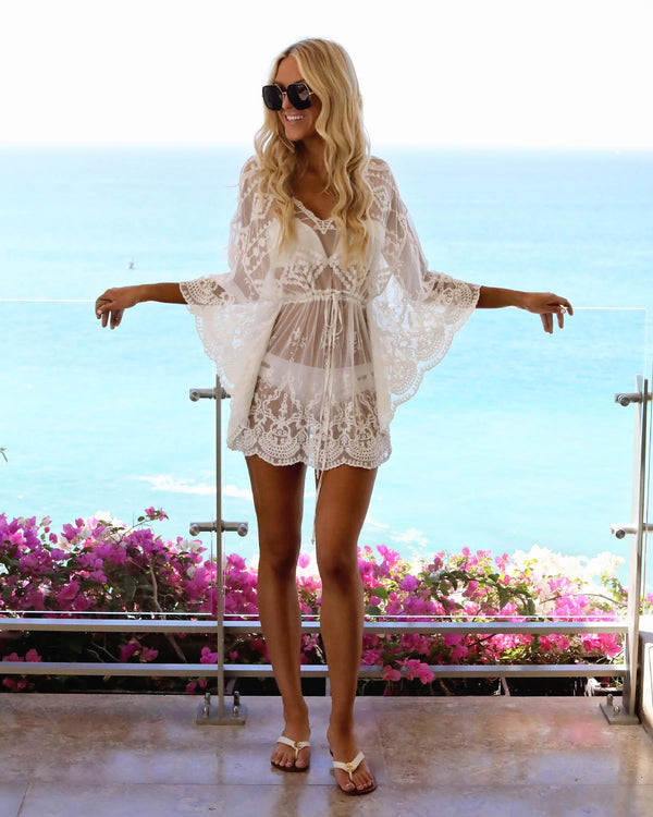 Lace sexy perspective Swimwear Dress Cover Up Blouse