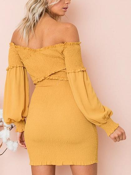 Yellow Off Shoulder Stretch Cross Puff Sleeve Bodycon Mini Dress