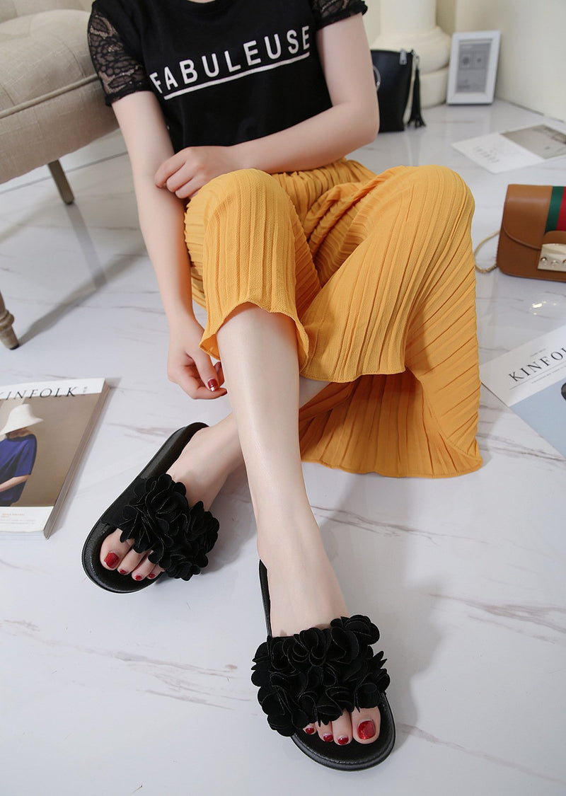 Floral Low Heeled Almond Toe Casual Outdoor Slippers