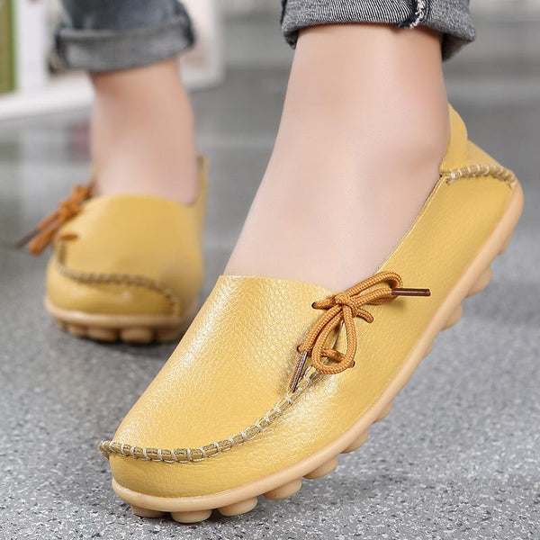 Solid Non-Slip Soft-Sole Lace-Up Flat Loafers