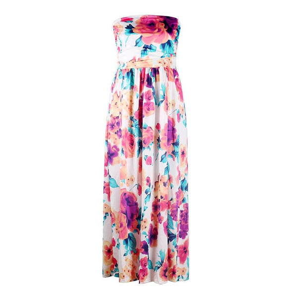 Strapless Floral Printed Maxi Dress