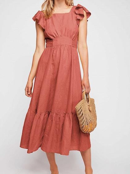 Orange Cotton Ruffle Trim Open Back Chic Women Midi Dress