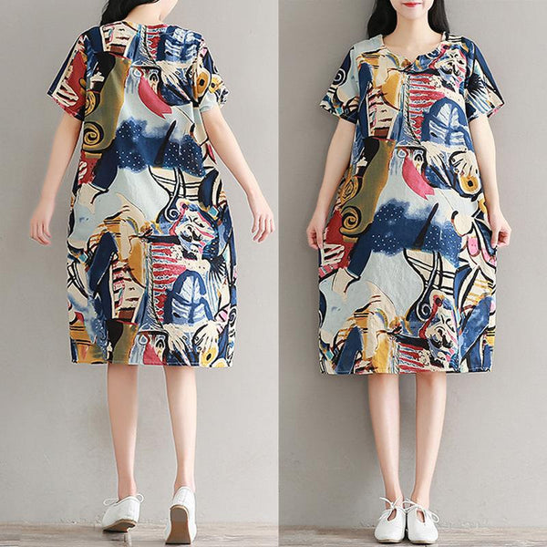 Spring Summer Cotton/Linen Sweet Heart Printed Shift Dress